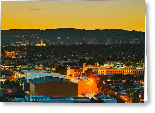 Getty Greeting Cards - Buildings In A City, Los Angeles Greeting Card by Panoramic Images