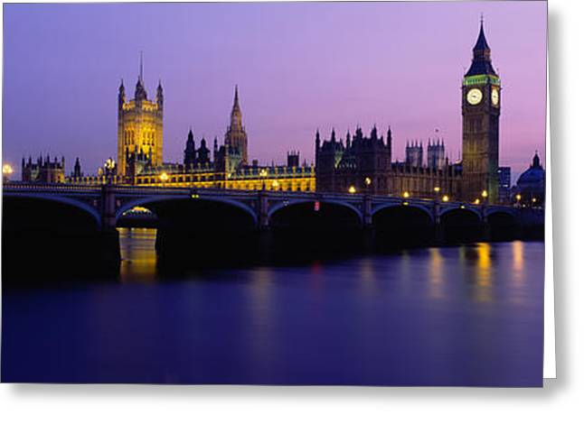 Electric Building Greeting Cards - Buildings Lit Up At Dusk, Big Ben Greeting Card by Panoramic Images