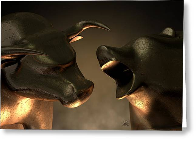 Refined Greeting Cards - Bull And Bear Market Statues Greeting Card by Allan Swart
