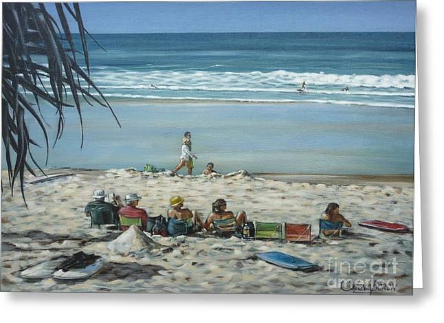 Australian Gold Coast Artist Greeting Cards - Burleigh Beach 220909 Greeting Card by Selena Boron