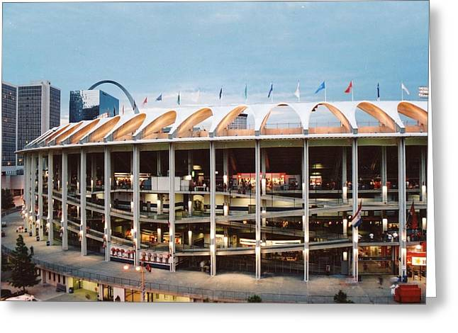 Busch Greeting Cards - Busch Stadium Greeting Card by Jane Linders