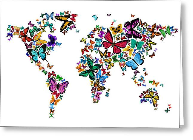 Cartography Digital Art Greeting Cards - Butterflies Map of the World Greeting Card by Michael Tompsett
