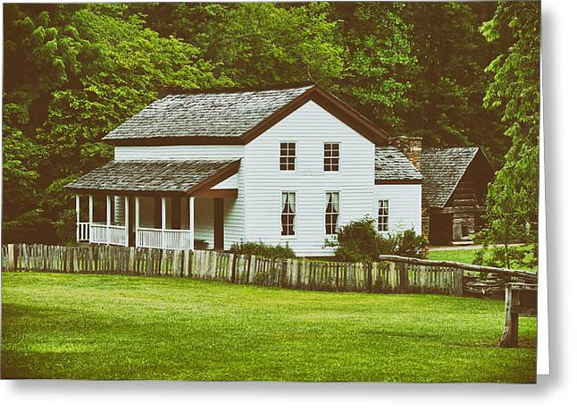 Barn Yard Greeting Cards - Cades Cove Farmhouse Greeting Card by Mountain Dreams