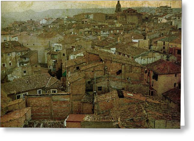 Rose Tower Greeting Cards - Calahorra roofs from the bell tower of Saint Andrew church Greeting Card by RicardMN Photography