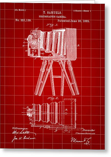 Camera Patent 1885 - Red Greeting Card by Stephen Younts
