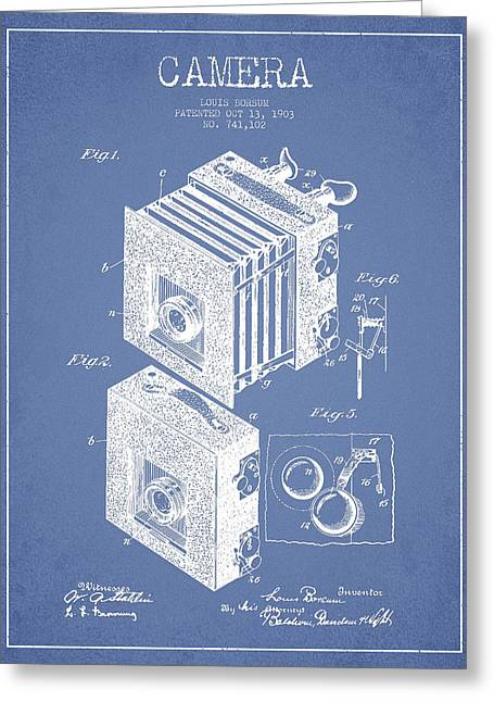 Famous Photographers Greeting Cards - Camera Patent Drawing from 1903 Greeting Card by Aged Pixel