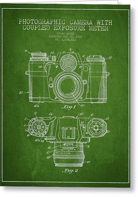 Famous Photographers Greeting Cards - Camera Patent Drawing From 1962 Greeting Card by Aged Pixel