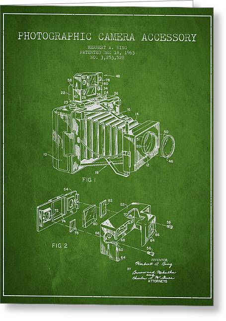 Camera Greeting Cards - Camera Patent Drawing From 1963 Greeting Card by Aged Pixel