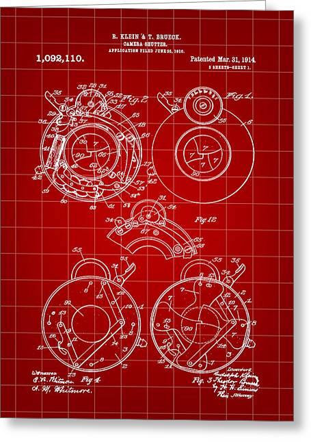 Camera Shutter Patent 1910 - Red Greeting Card by Stephen Younts