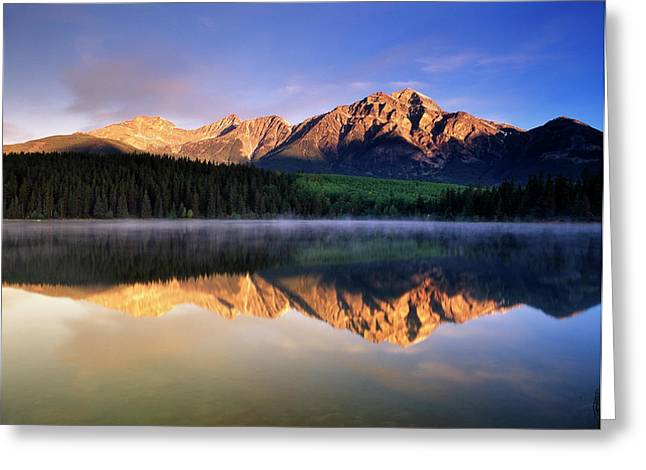 Canada, Alberta, Pyramid Lake In Jasper Greeting Card by Jaynes Gallery