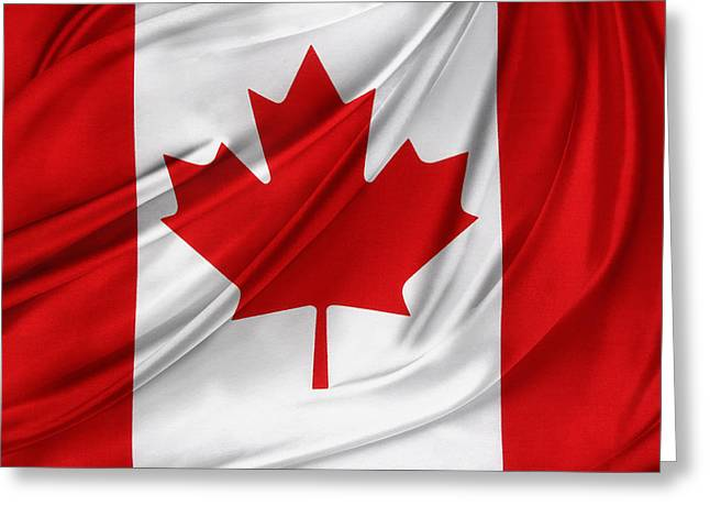 Shiny Fabric Greeting Cards - Canadian flag  Greeting Card by Les Cunliffe