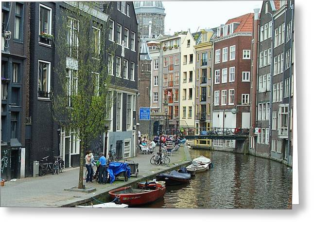 Blue Green Water Greeting Cards - Canal Scene 2 Greeting Card by Allen Beatty