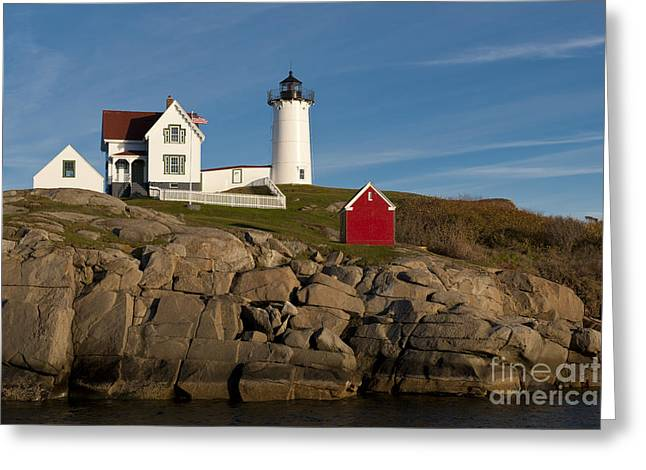 Cape Neddick Lighthouse Greeting Cards - Cape Neddick Lighthouse Greeting Card by John Shaw