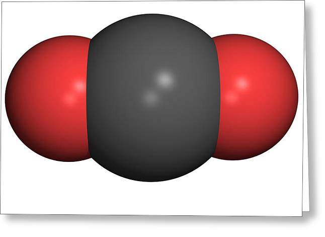Carbon Dioxide Greeting Cards - Carbon Dioxide Molecule Greeting Card by Friedrich Saurer