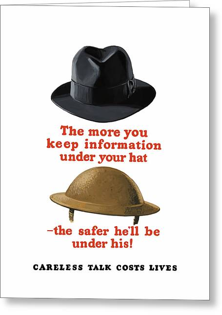 Fedora Greeting Cards - Careless Talk Costs Lives Greeting Card by War Is Hell Store