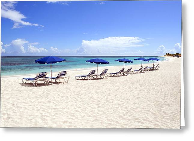 Sunbed Greeting Cards - Caribbean beach. Greeting Card by Fernando Barozza