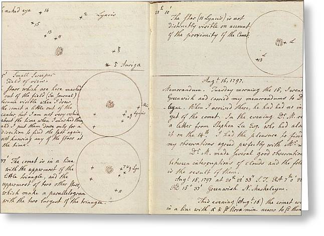 Caroline Herschel Comet Discovery Greeting Card by Royal Astronomical Society