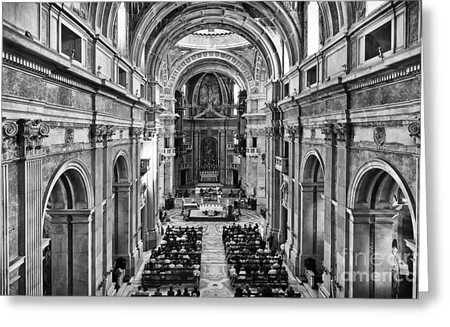 Mafra Greeting Cards - Catholic Mass Greeting Card by Jose Elias - Sofia Pereira