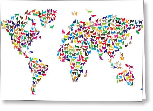 Map Of The World Digital Art Greeting Cards - Cats Map of the World Map Greeting Card by Michael Tompsett