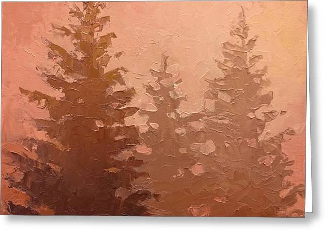 Subtle Colors Greeting Cards - 3 Cedars in the Fog No. 1 Greeting Card by Karen Whitworth