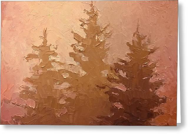 3 Cedars In The Fog No. 2 Greeting Card by Karen Whitworth