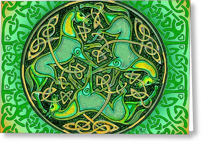 Druidic Greeting Cards - 3 Celtic Irish Horses Greeting Card by Michele  Avanti