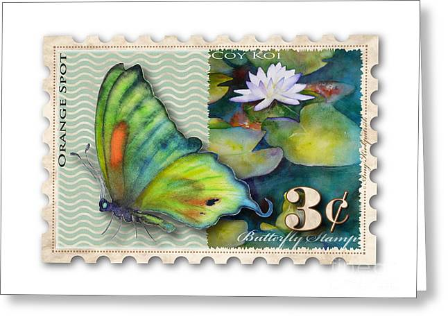 Butterfly Koi Greeting Cards - 3 Cent Butterfly Stamp Greeting Card by Amy Kirkpatrick