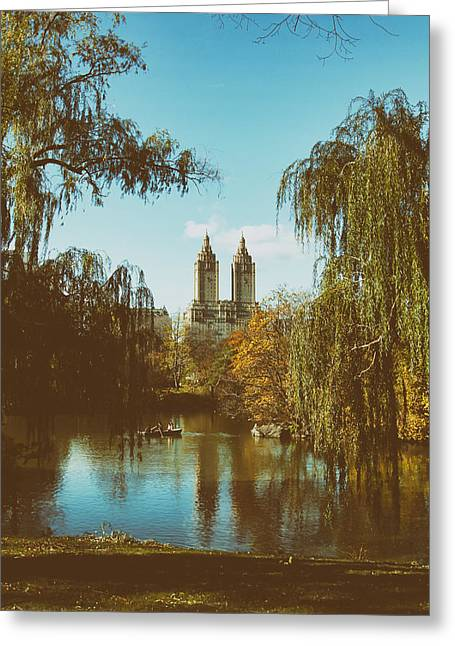 Central Park Photo Greeting Cards - Central Park in Autumn Greeting Card by Mountain Dreams