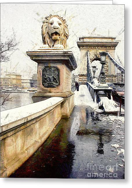 Exposure Paintings Greeting Cards - Chain bridge in Budapest Greeting Card by Odon Czintos