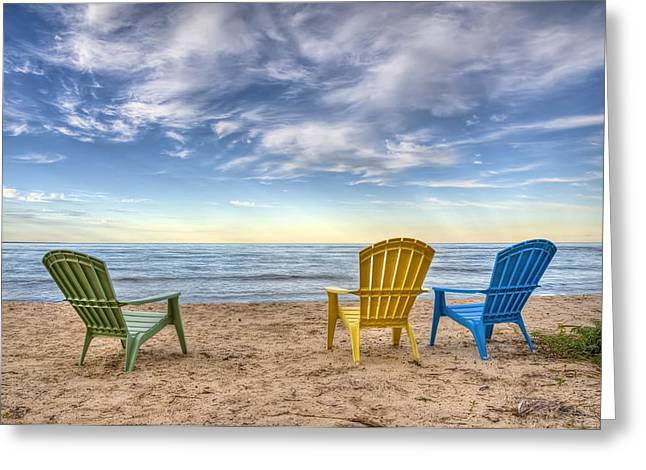 Ocean Art Photography Greeting Cards - 3 Chairs Greeting Card by Scott Norris