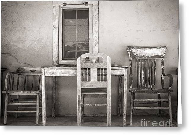 Sherry Davis Greeting Cards - 3 Chairs Greeting Card by Sherry Davis