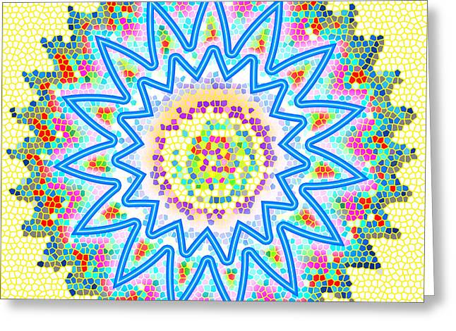Facination Greeting Cards - CHAKRA Energy  Mandala Ancient Healing Meditation Tool STAINED Glass pixels  Live Spinning Wheel  Greeting Card by Navin Joshi