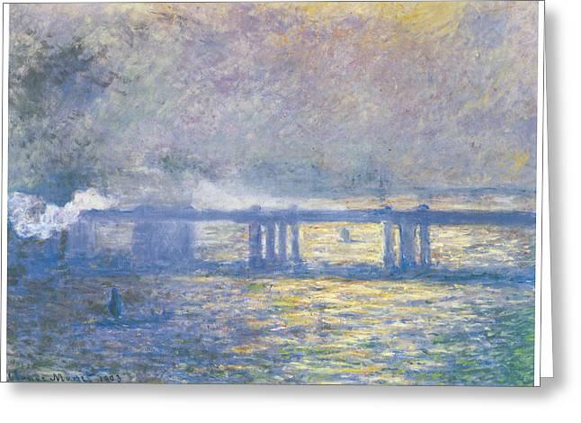 Charing Cross Bridge Greeting Cards - Charing Cross Bridge Greeting Card by Claude Monet