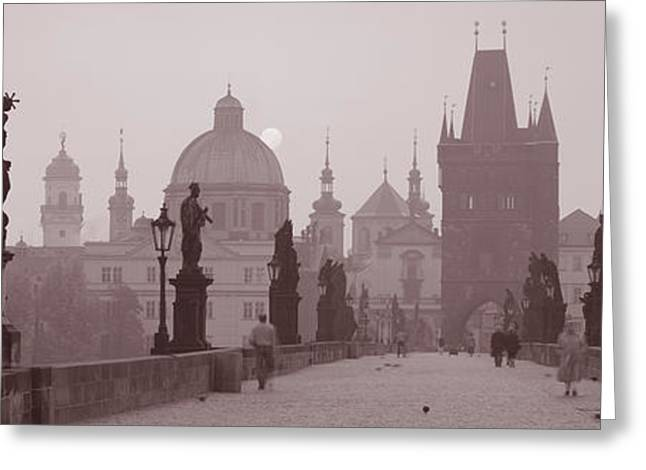 Historical Images Greeting Cards - Charles Bridge Prague Czech Republic Greeting Card by Panoramic Images