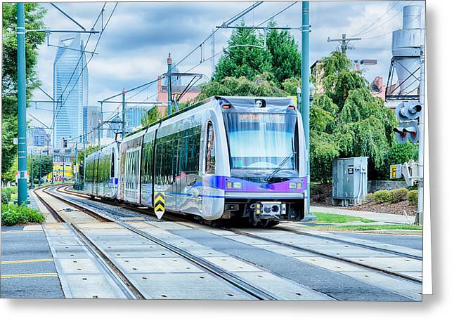 Charlotte Greeting Cards - Charlotte North Carolina Light Rail Transportation Moving System Greeting Card by Alexandr Grichenko