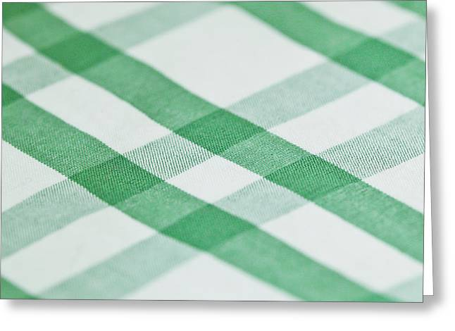 Covering Up Greeting Cards - Checked cotton Greeting Card by Tom Gowanlock