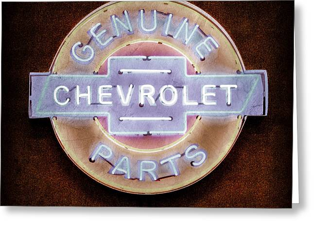 Old Neon Sign Greeting Cards - Chevrolet Neon Sign Greeting Card by Jill Reger