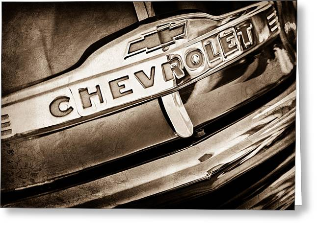 Chevy Pickup Greeting Cards - Chevrolet Pickup Truck Grille Emblem Greeting Card by Jill Reger