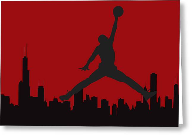 Dunk Greeting Cards - Chicago Bulls Greeting Card by Joe Hamilton