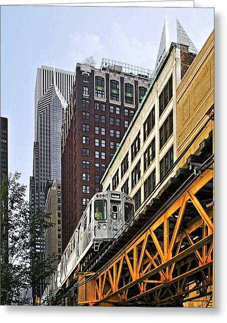 Rails Greeting Cards - Chicago Loop L Greeting Card by Christine Till