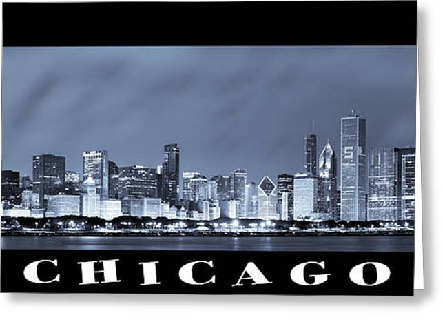 Pier Greeting Cards - Chicago Skyline at Night Greeting Card by Sebastian Musial