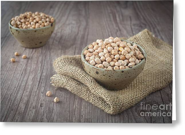Wooden Bowl Greeting Cards - Chickpeas Greeting Card by Sabino Parente