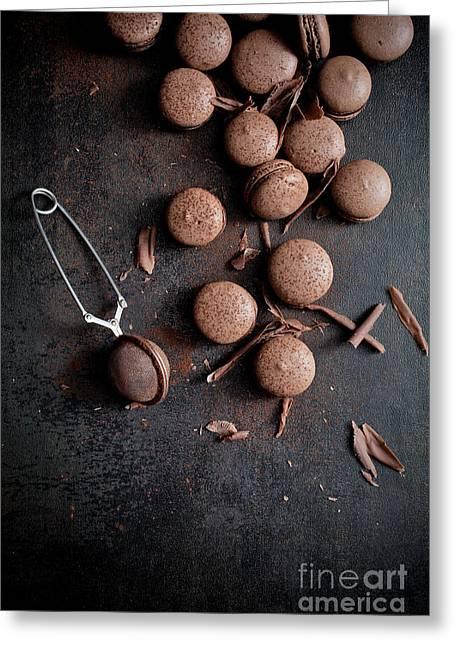 Chocolate Pralines Greeting Cards - Chocolate macaroons Greeting Card by Kati Molin