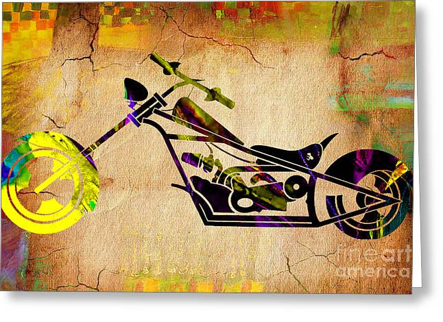 Motorbikes Greeting Cards - Chopper Art Greeting Card by Marvin Blaine