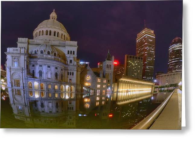 Boston Night Scenes Greeting Cards - Christian Science Center-Boston Greeting Card by Joann Vitali