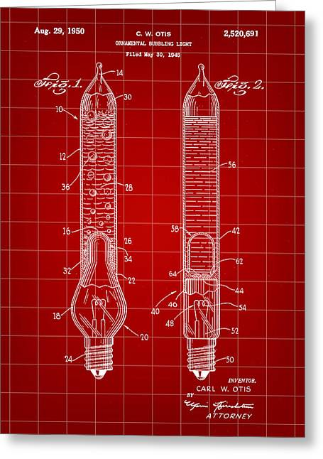 Rudolph Greeting Cards - Christmas Bubbling Light Bulb Patent 1945 - Red Greeting Card by Stephen Younts