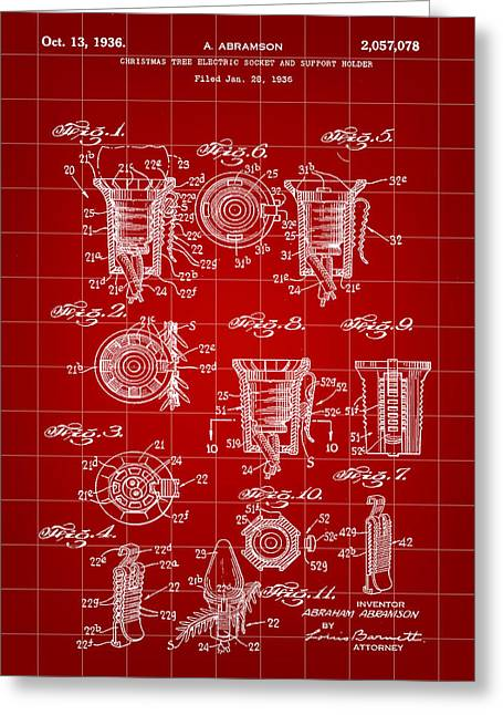 Rudolph Greeting Cards - Christmas Bulb Socket Patent 1936 - Red Greeting Card by Stephen Younts