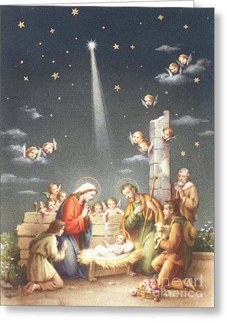 Baby Jesus Paintings Greeting Cards - Christmas Card Greeting Card by French School