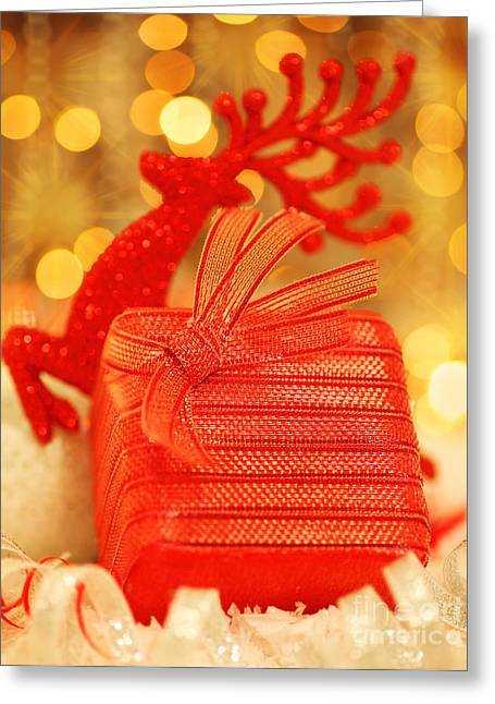 Rudolph Greeting Cards - Christmas gift Greeting Card by Anna Omelchenko