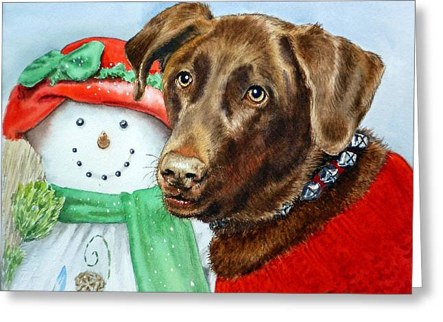 Chocolate Lab Greeting Cards - Christmas Greeting Card by Irina Sztukowski